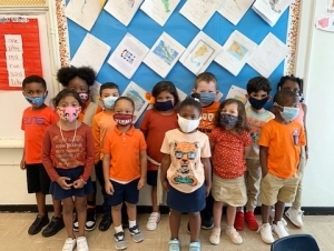 Our school wore orange today in support of the belief that no child should be bullied at school, online, or in the community!